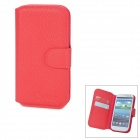 Lychee Pattern Protective Flip Open PU Leather Case w/ Card Slot for Samsung Galaxy SIII i9300 - Red