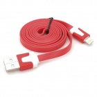 Lightning 8-Pin Male to USB 2.0 Male Data / Charging Flat Cable for iPhone 5 / iPad 4 - Red (103cm)