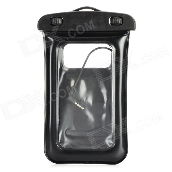 Waterproof Dry Plastic Case Bag w/ Earphones + Armband + Strap for Iphone 5 - Black usams fluorescent ipx8 waterproof bag case for iphone 6s 6 4 7 with strap black