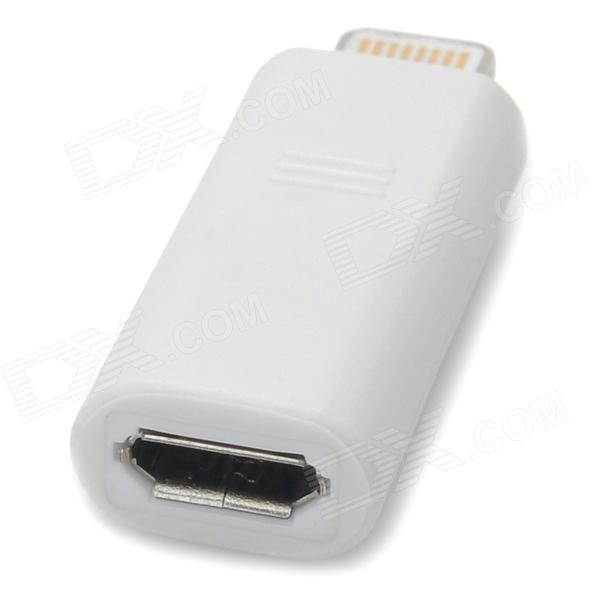 Lightning 8-Pin Male to Micro USB Female Adapter for iPhone 5 - White