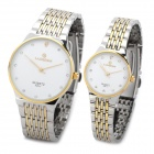 LAOGESHI 425-1 Couple Lovers Steel Alloy Band Quartz Analog Wrist Watch - White + Silver (2 piece)