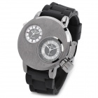 NBW0SD6491 Fashion Creative Men's Rubber Band Dual Time Quartz Analog Wrist Watch - Black (1 x 377)