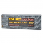 Top Sky 7.4V 5400mAh 40C Li-ion Battery Pack for R/C Model - Grey + Black