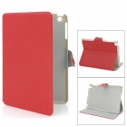 Stylish Protective PU Leather Case w/ Card Holder for iPad Mini - Red