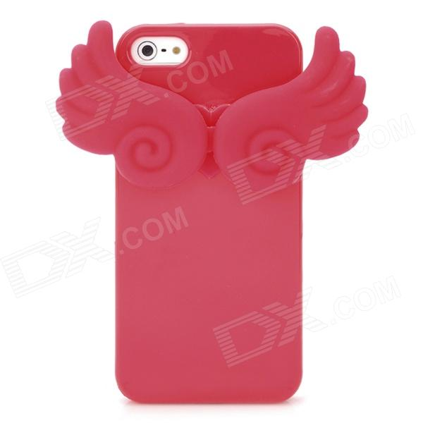 Angel Wings Noctilucent Protective Silicone Soft Back Case for iPhone 5 - Red