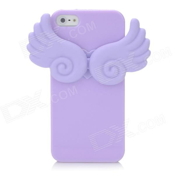 Angel Wings Noctilucent Protective Silicone Soft Back Case for Iphone 5 - Purple soft silicone anti noise earplug with cable and case purple