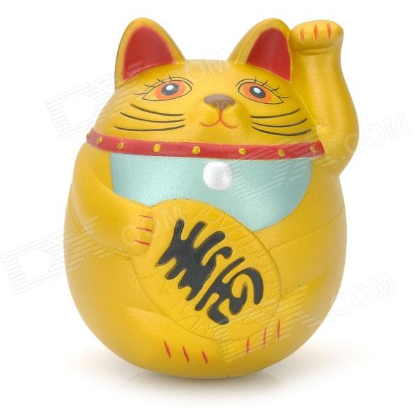 GJ996 Cute Money Cat Style Roly-Poly Toy - Golden head shaking cute cat style toy for car decoration white