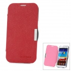 Cross Pattern Protective PU Leather Flip-Open Case w/ Stand for Samsung N7100 - Red