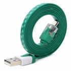 V8 Micro USB Male to USB Male Data Transmission / Charging Cable w/ Light - Green (100cm)