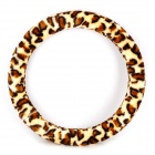 Leopard Short Floss Hand Warmer Steering Wheel Sleeve - Milky White + Brown + Black (Diameter-38cm)