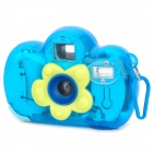 Cute Flower Pattern Children's Film Camera w/ Speedlite - Translucent Blue + Yellow