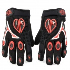 Professional Full Finger Motorcycle Racing Gloves - Black + Red + White (M-Size / Pair)