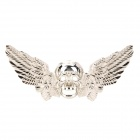 D12111902X Cool 3D Skull Skeleton Wings Shaped Zinc Alloy Car Decoration Sticker - Silver