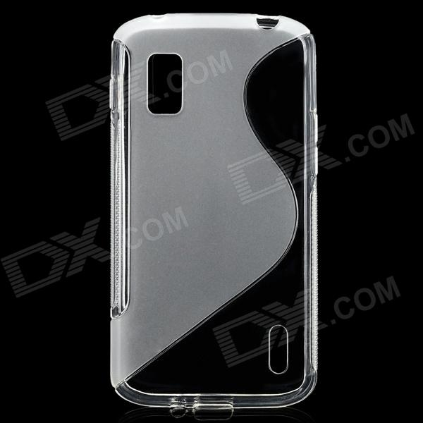S Pattern Protective Silicone Back Case for LG Nexus 4 - Translucent protective silicone case for nds lite translucent white