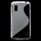 S Pattern Protective Silicone Back Case for LG Nexus 4 - Translucent