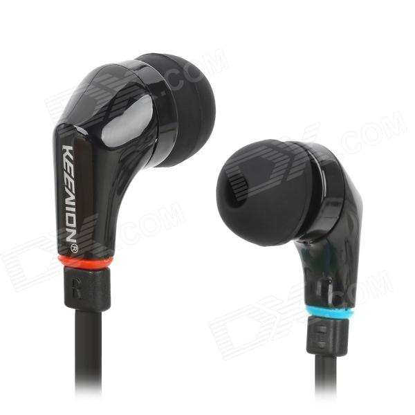 KEENION KDM-E601 Stylish Flat Cable In-Ear Stereo Earphones - Black (3.5mm Plug / 125cm) awei es900i stylish in ear earphone w microphone for iphone 4 green 3 5mm plug 125cm cable