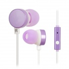 Kanen iP-608 In-Ear Earphones w/ Mic for Iphone / HTC / Blackberry + More - Purple (3.5mm Plug)