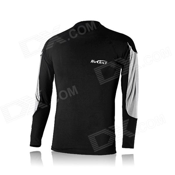 NUCKILY NY0917 Cycling Bicycle Quick Dry Long Sleeves Thermal Warm Top - Black (Size XXL)