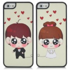 Lovers Protective Prince & Princess Style Shining Back Case for iPhone 5 - Black + Beige (2 PCS)