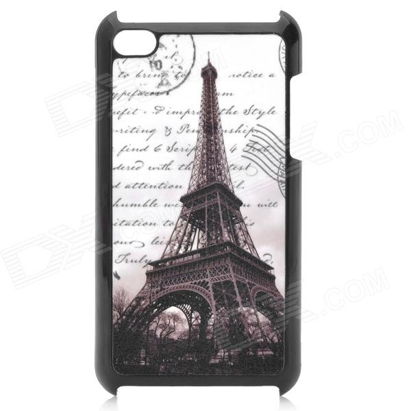 Eiffel Tower Pattern Protective Plastic Case for Ipod Touch 4 - Black