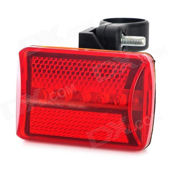 Bike 7-Mode 5-LED Red Light Safety Tail Warning Light - Red + Black