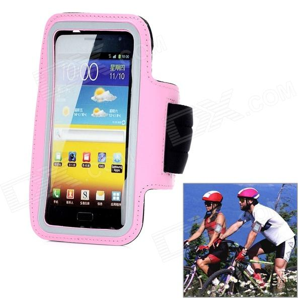 Protective PU + Neoprene Fabric Outdoor Sports Armband for Samsung N7100 - Pink + Black