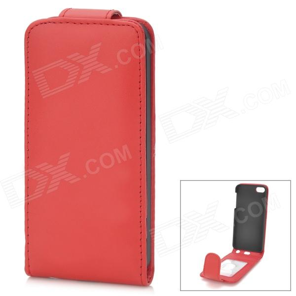 Protective Top-Flip PU Leather Case w/ Card Slots for Iphone 5 - Red solid color litchi pattern wallet style front buckle flip pu leather case with card slots for doogee x10