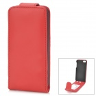 Protective Top-Flip PU Leather Case w/ Card Slots for Iphone 5 - Red