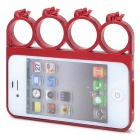 Cool Skull Rings Style Protective Plastic Bumper Frame Case for Iphone 4 / 4S - Deep Red
