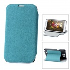 Protective Flip-Open PU Leather Case for Samsung Galaxy Note 2 N7100 - Cyan