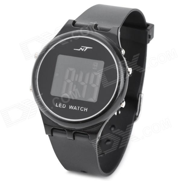 53 Stylish Rubber Band Color Changeable LED Digital Waterproof Wrist Watch - Black (1 x CR2032)