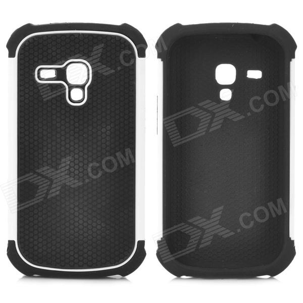Protective Silicone + PC Case for Samsung Galaxy S3 Mini - Black + White