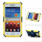 Protective Plastic + Silicone Case w/ Foldable Holder for Samsung Galaxy S2 i9100 - Yellow