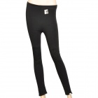 Kitten Pattern Thick Cotton + Velvet 3/4 Capri Pants Leggings - Black (90cm)