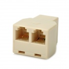 RJ-11 Telephone 3-Port Connector Extended Plug Adapter Set - Ivory (2 PCS)