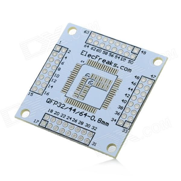 05mm / 08mm Pitch Arduino QFP32 / 44/64 a DIP Adaptador Doble-Lado Módulo Junta - Blanco