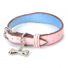 Cute Heart Pattern Adjustable PU Pet Dog Collar w/ Bone Pendant - Pink + Blue (Size S)