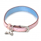 Cute Heart Pattern Adjustable PU Pet Dog Collar w/ Bone Pendant - Pink + Blue