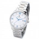 OLIPAI JT9027-S-SW Mans Stainless Steel Blue Pointer Quartz Analog Wrist Watch w/ Calendar - Silver