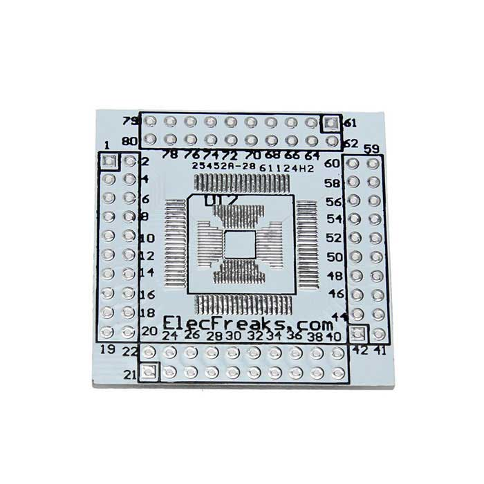 Фото New QFN / QFP / TQFP / LQFP 16-80 to DIP Adapter Double-Side Board Module for Arduino qfn8 to dip8 adapter mlf8 mlp8 plastronics 08qn50t43020 qfn ic programming test burn in socket 0 5mm pitch