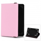 "Lichee Pattern Protective Flip-Open PU Leather Case for 7"" Tablet PC - Pink"