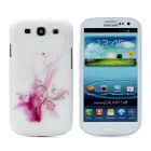 Hotsion Flower Embossed Protective Plastic Case for Samsung i9300 Galaxy S3 - Purple + White