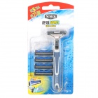 Schick Handheld Dual Blade Razor w/ 4 Replacement Blades Cartridges - Blue + White