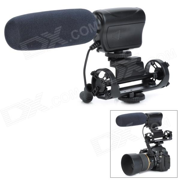 MIC-121 Professional Stereo Shotgun Microphone w/ Mount for Camcorder - Black professional directional stereo microphone 1 x cr2