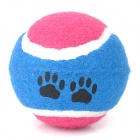 Tennis Ball Shaped Cotton Fiber Bite Resistant Pet Dog Toy - Red + Blue + White
