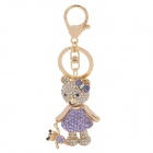 SALY-43125 Shining Rhinestone Bear with Baby Style Zinc Alloy Keychain - Golden + Purple + White