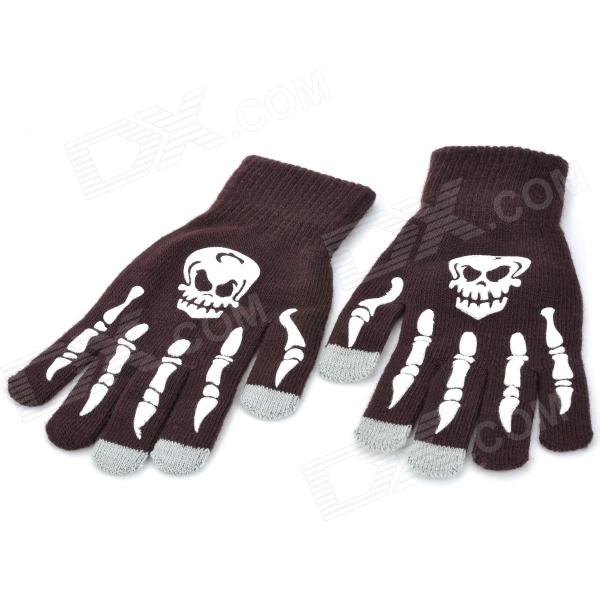 Skull Skeleton Pattern Capacitive Screen Full Fingers Touch Gloves - Brown + White (Free Size)
