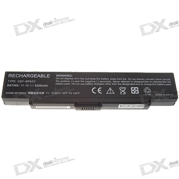 Sony BPS2C Compatible 5200mAh Replacement Lithium Battery Pack for Sony VGN-FE/FS Series Laptops