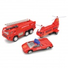 Fire Rescue Team Truck + Helicopter + Fire Extinguisher Toy Set - Red