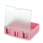 Multi-Functional Building Block Style Electronic Component Storage Case - Pink + Translucent